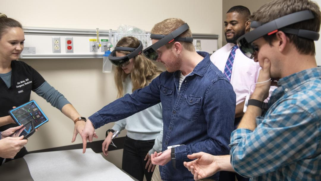 Students in lab testing AR