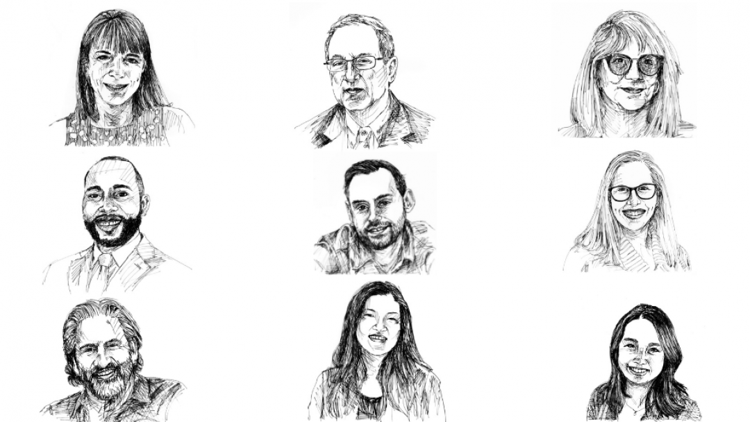 sketches of 9 faculty members
